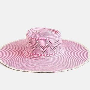 J. Crew Pink Woven Straw Hat Extra Wide Brim S/M